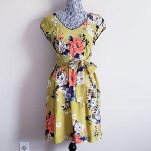 Anthro Moulinette Soeurs Green Floral Silk Dress
